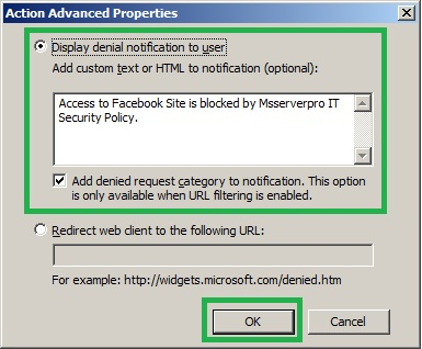 Controlling Web Access with URL Filtering in TMG 2010 – MS Server Pro