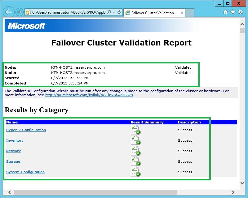 8cFailover Cluster Report
