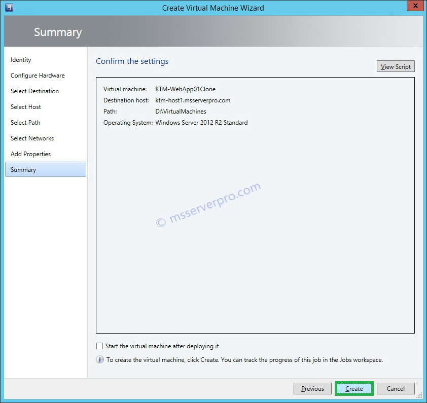 Cloning a Virtual Machine in System Center Virtual Machine