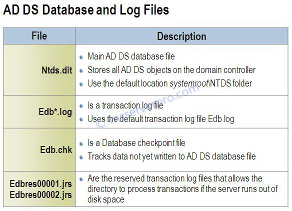 AD DS Database and Log files