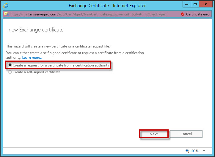 Configuring Certificates for Client Access in Exchange