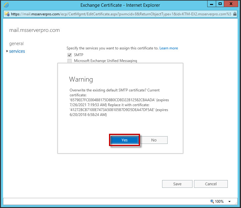 Export And Import The Certificate On Microsoft Exchange Server 2016