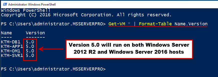 Upgrading the VM configuration version in Windows Server