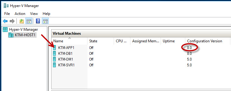 Upgrading the VM configuration version in Windows Server 2016 Hyper
