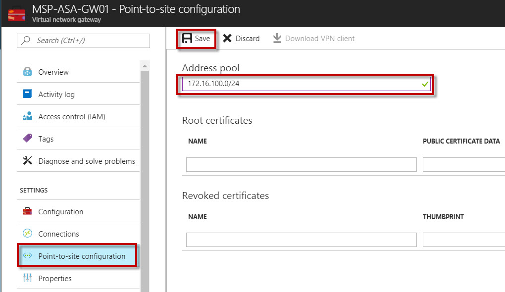 Configuring a Point-to-Site Connection to a VNet using Azure